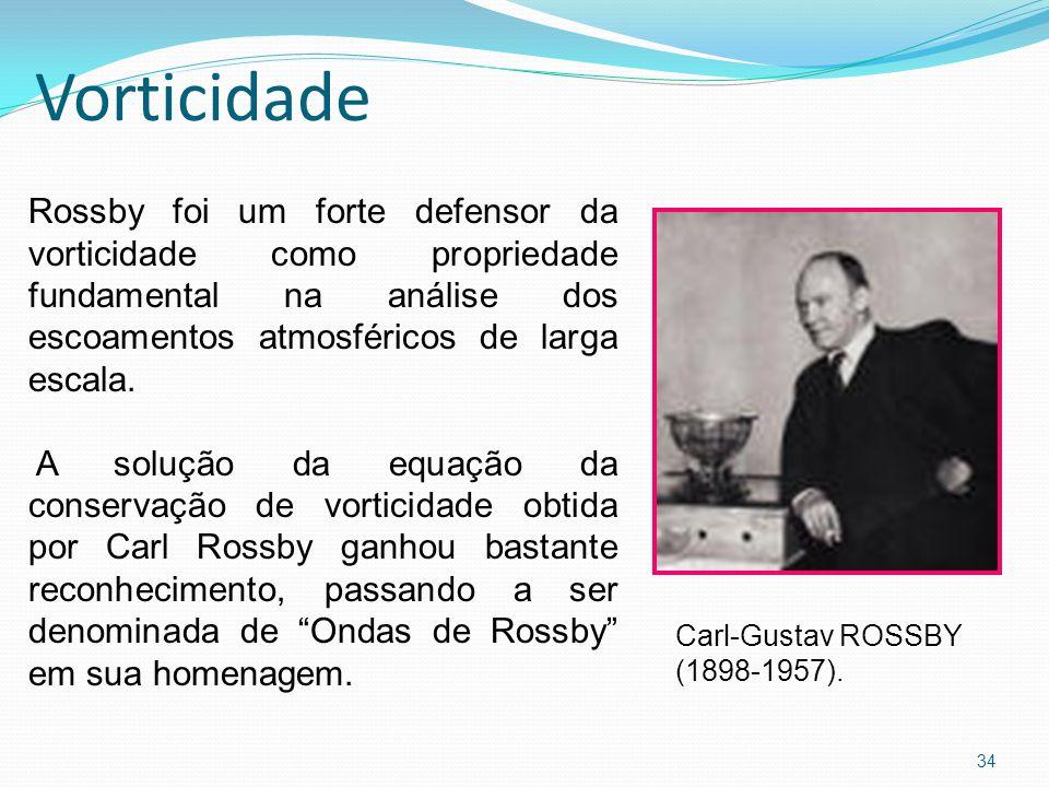 Vorticidade Rossby foi um forte defensor da vorticidade como propriedade fundamental na análise dos escoamentos atmosféricos de larga escala.