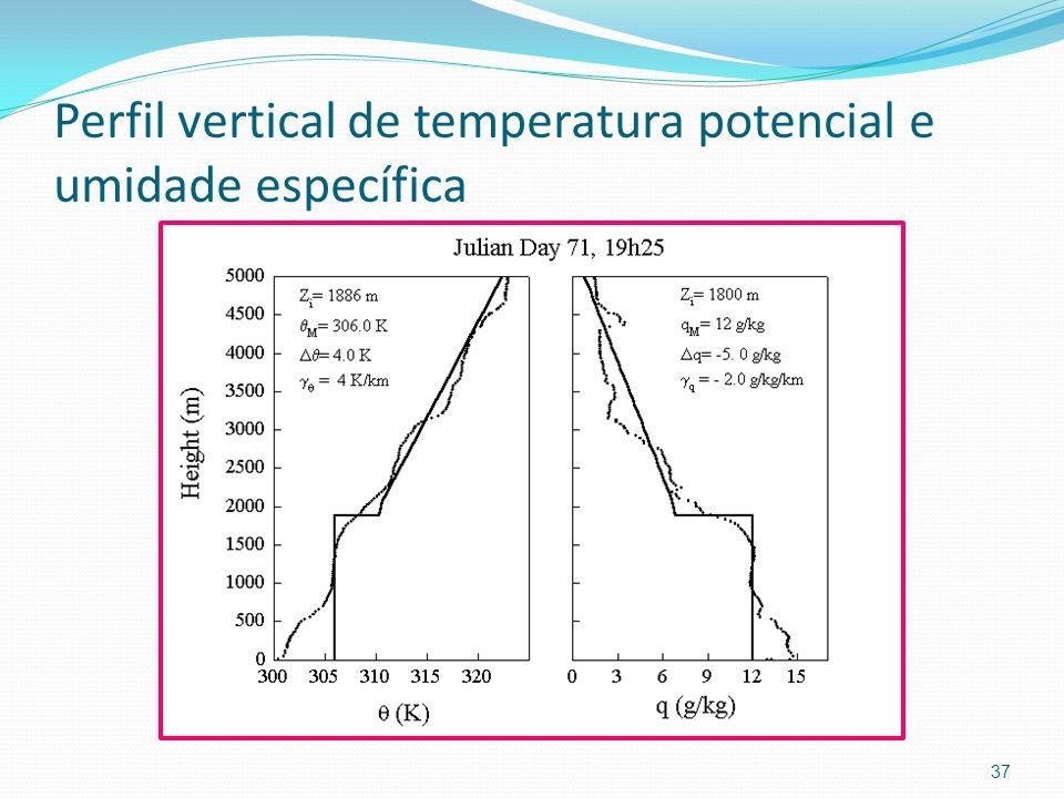 Perfil vertical de temperatura potencial e umidade específica