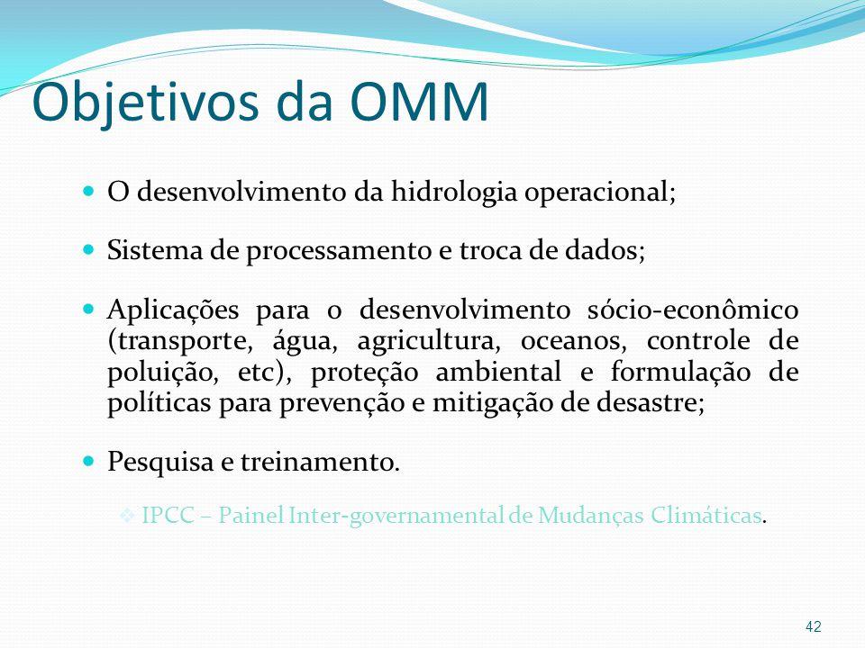 Objetivos da OMM O desenvolvimento da hidrologia operacional;