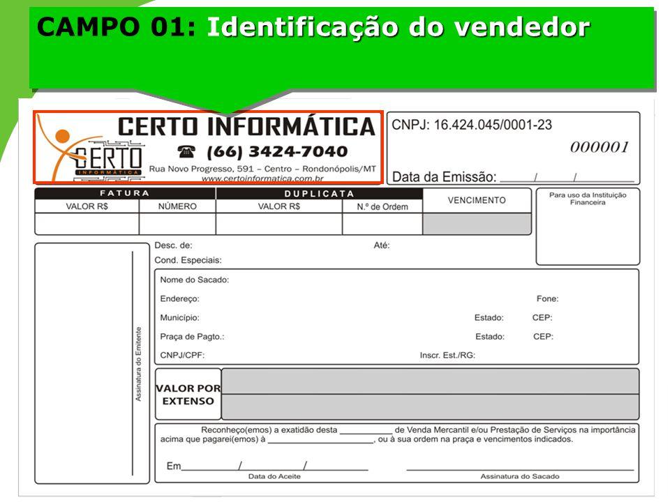 CAMPO 01: Identificação do vendedor
