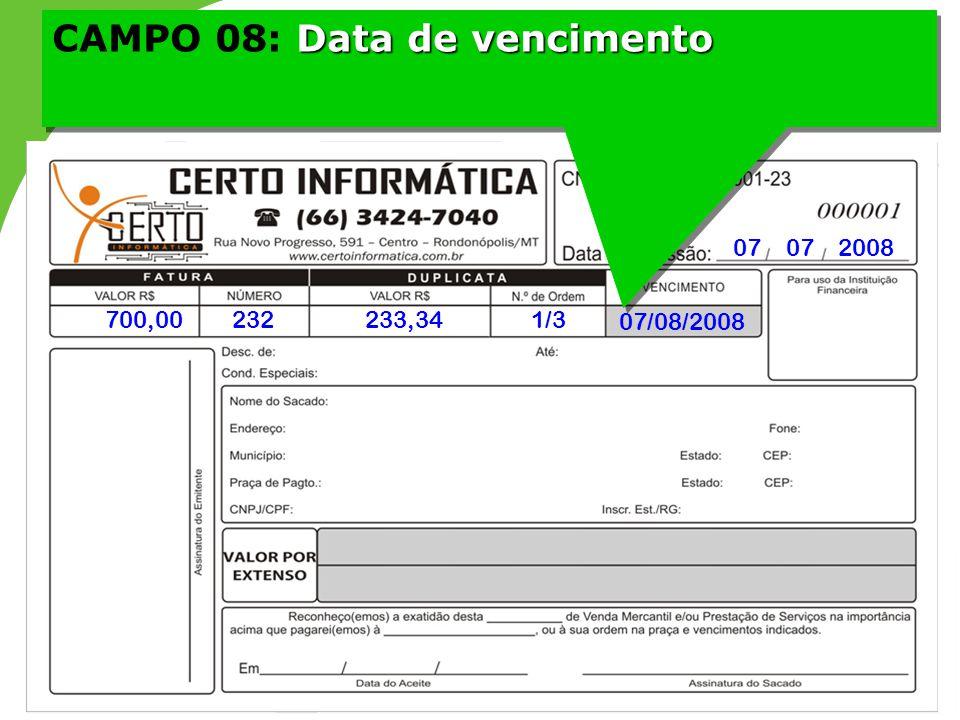 CAMPO 08: Data de vencimento