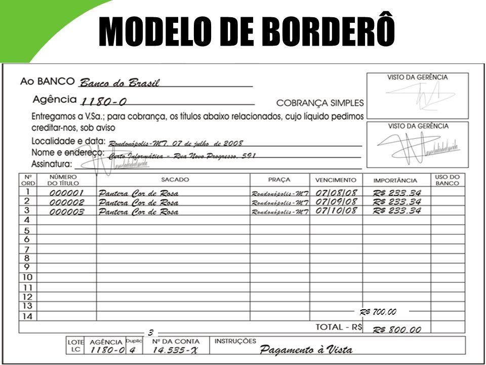 MODELO DE BORDERÔ R$ 700,00 3 39