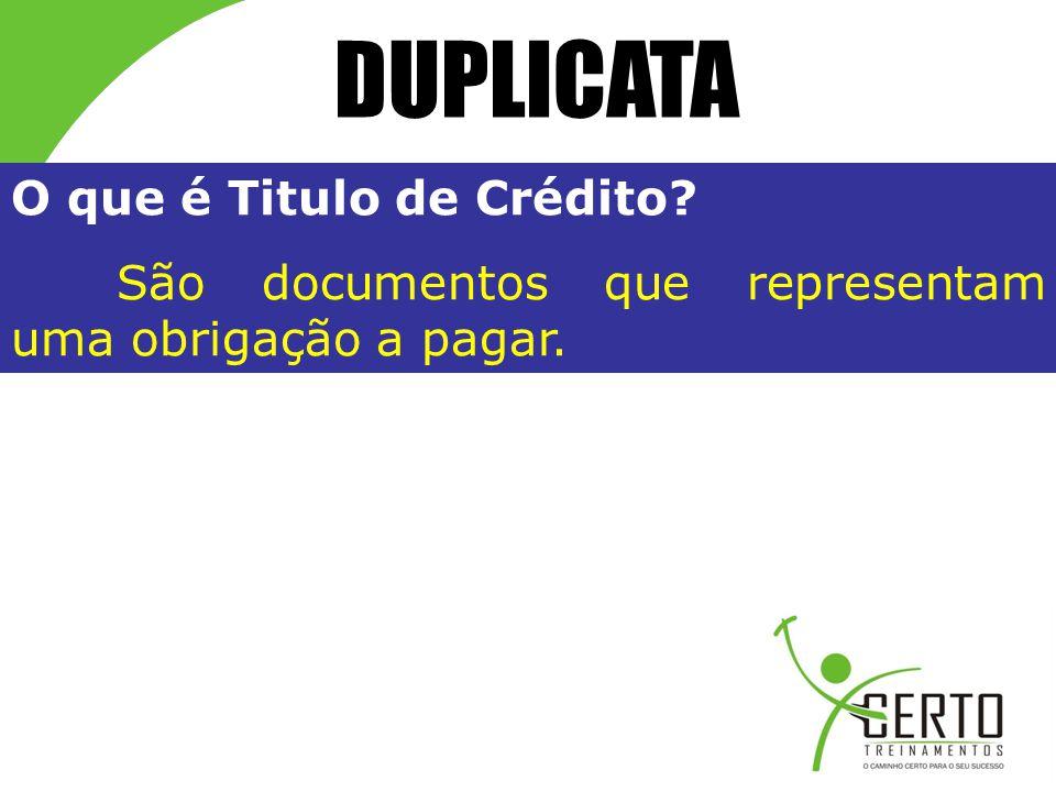 DUPLICATA O que é Titulo de Crédito