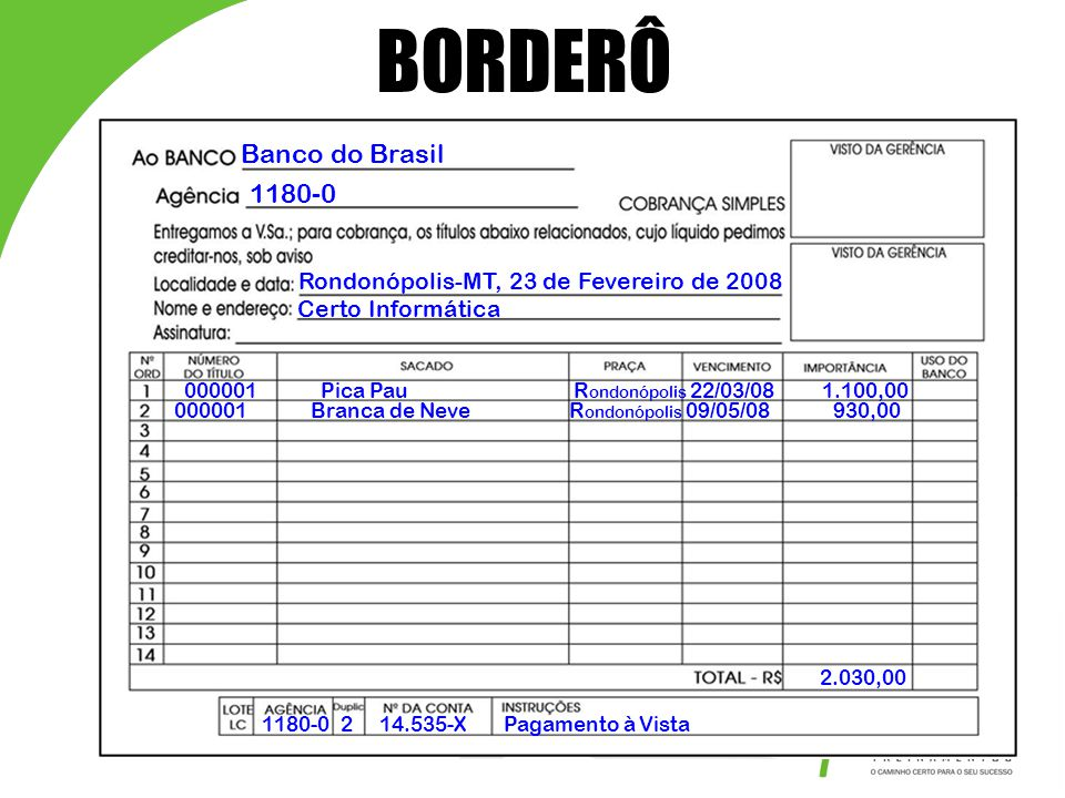 BORDERÔ Banco do Brasil 1180-0