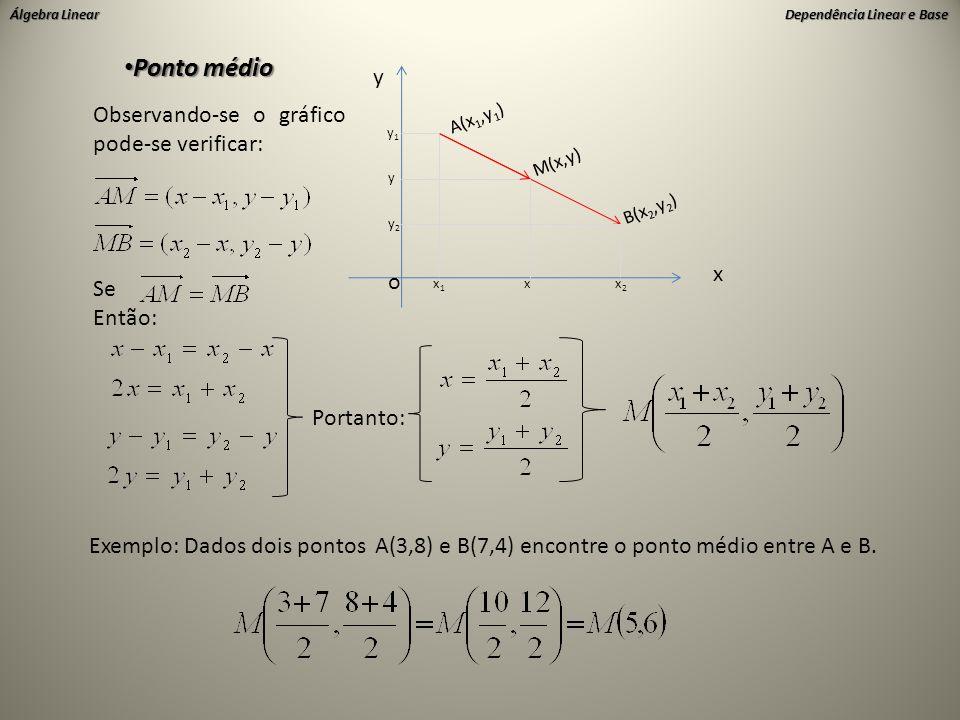 Ponto médio y Observando-se o gráfico pode-se verificar: x o Se Então: