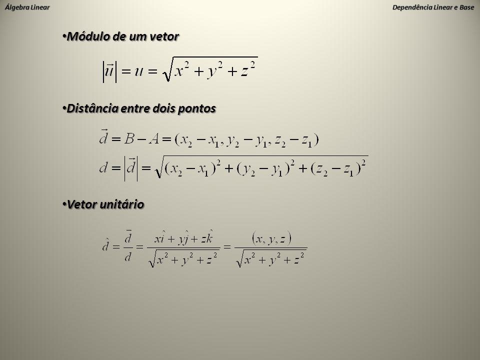 Módulo de um vetor Distância entre dois pontos Vetor unitário