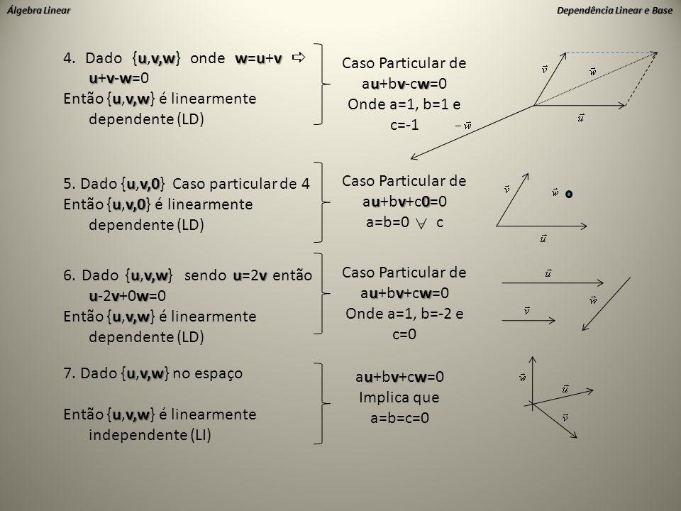 4. Dado {u,v,w} onde w=u+v  u+v-w=0