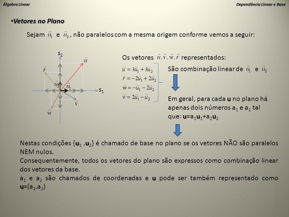 Vetores no Plano Sejam e , não paralelos com a mesma origem conforme vemos a seguir: s2.
