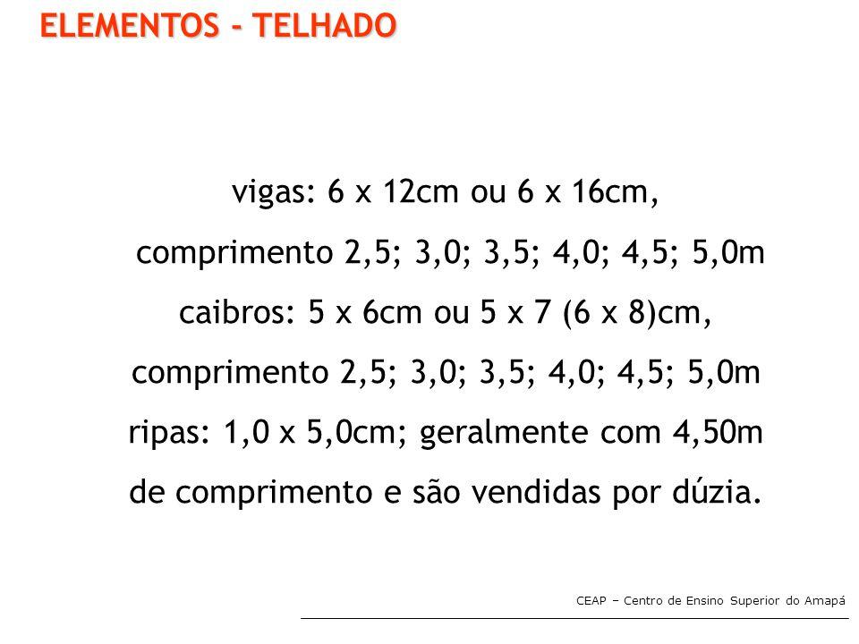ELEMENTOS - TELHADO vigas: 6 x 12cm ou 6 x 16cm,