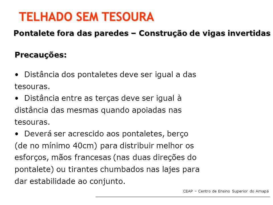 TELHADO SEM TESOURA Pontalete fora das paredes – Construção de vigas invertidas. Precauções: