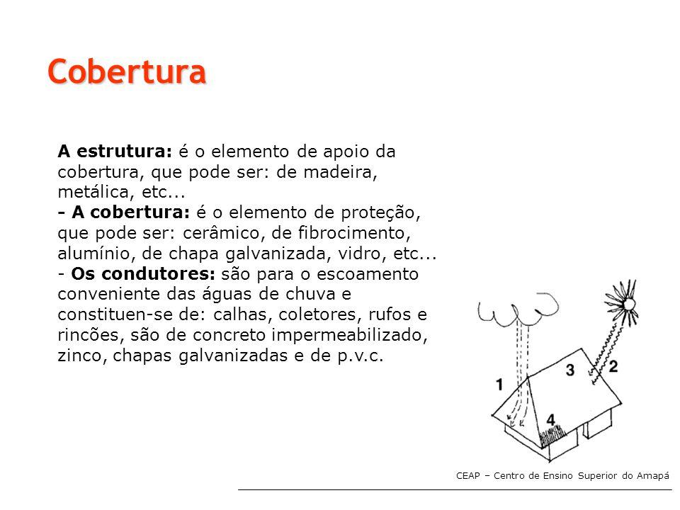 Cobertura A estrutura: é o elemento de apoio da cobertura, que pode ser: de madeira, metálica, etc...