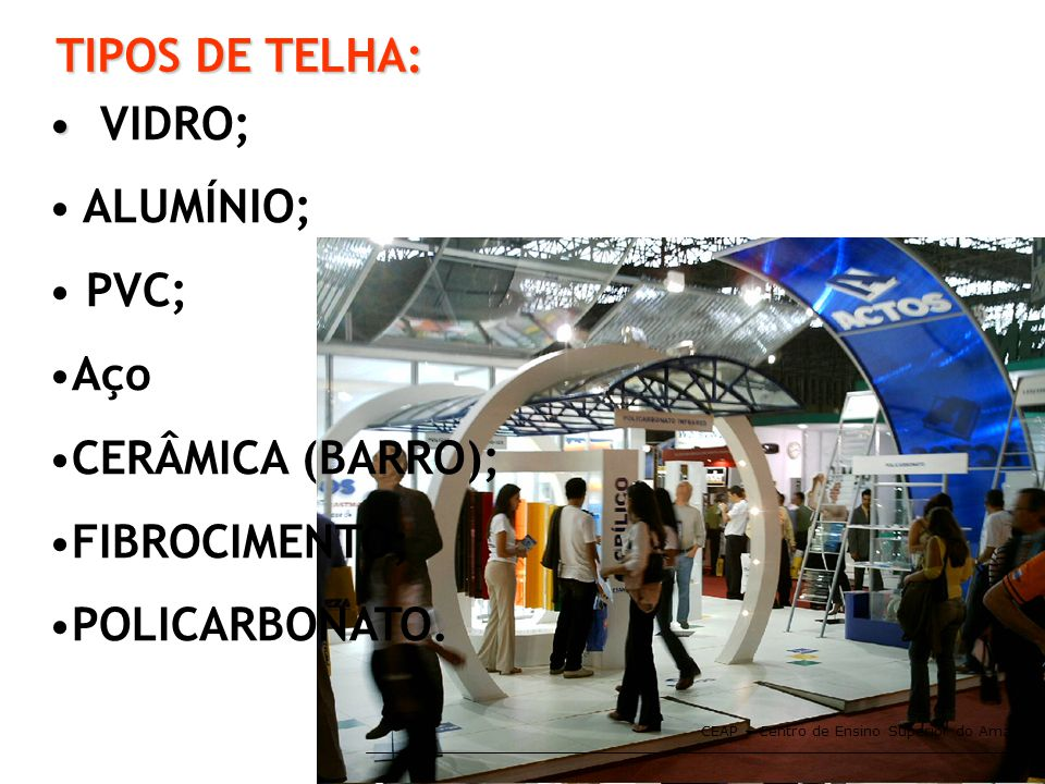 TIPOS DE TELHA: VIDRO; ALUMÍNIO; PVC; Aço CERÂMICA (BARRO);
