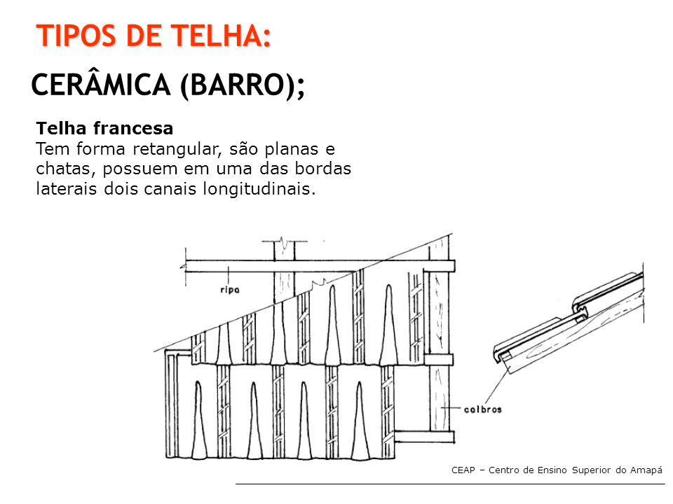 TIPOS DE TELHA: CERÂMICA (BARRO); Telha francesa