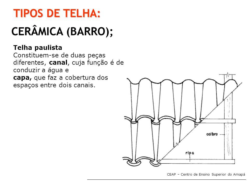 TIPOS DE TELHA: CERÂMICA (BARRO); Telha paulista
