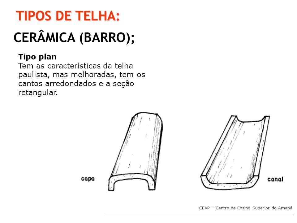 TIPOS DE TELHA: CERÂMICA (BARRO); Tipo plan