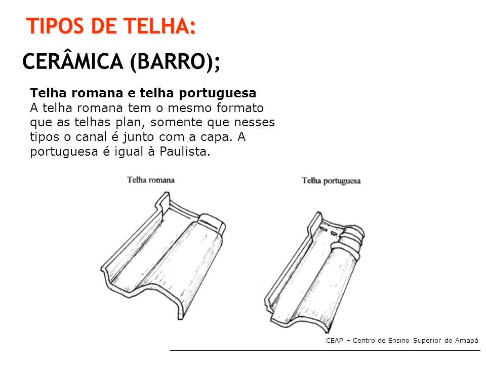 TIPOS DE TELHA: CERÂMICA (BARRO); Telha romana e telha portuguesa