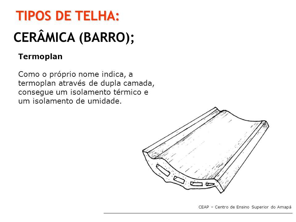 TIPOS DE TELHA: CERÂMICA (BARRO); Termoplan