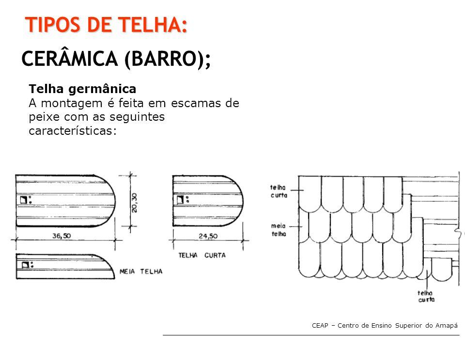 TIPOS DE TELHA: CERÂMICA (BARRO); Telha germânica