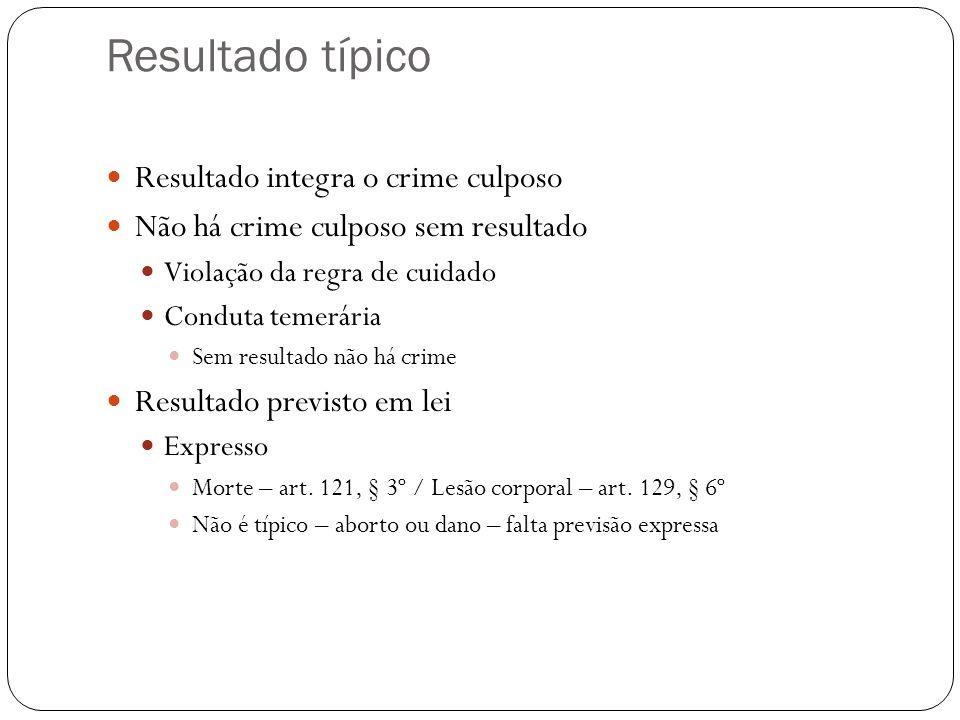 Resultado típico Resultado integra o crime culposo