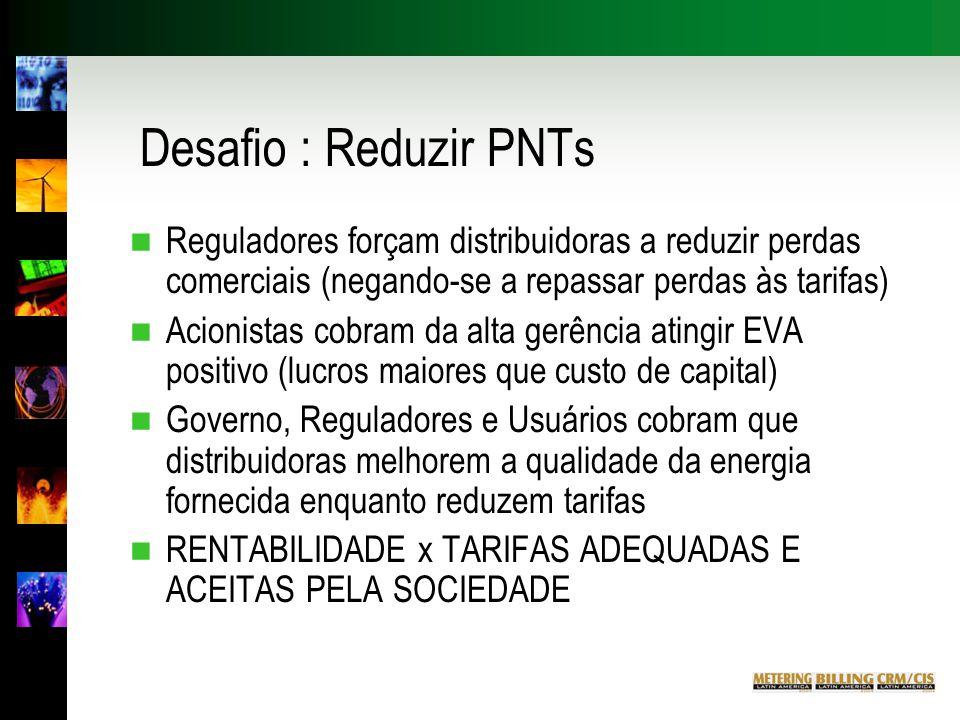 Desafio : Reduzir PNTs Reguladores forçam distribuidoras a reduzir perdas comerciais (negando-se a repassar perdas às tarifas)