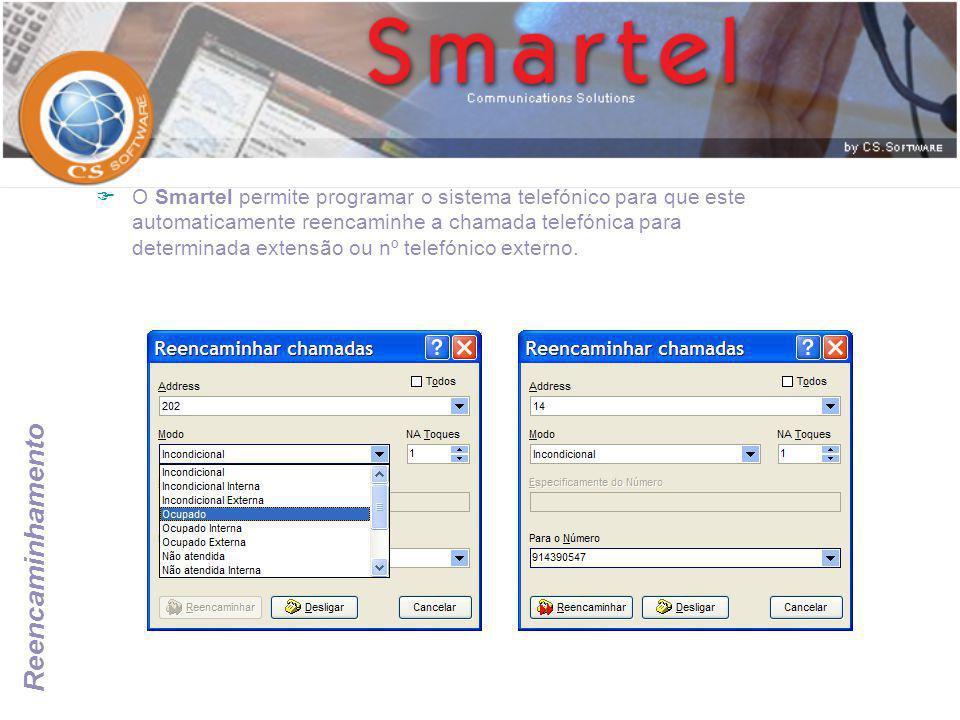 O Smartel permite programar o sistema telefónico para que este automaticamente reencaminhe a chamada telefónica para determinada extensão ou nº telefónico externo.