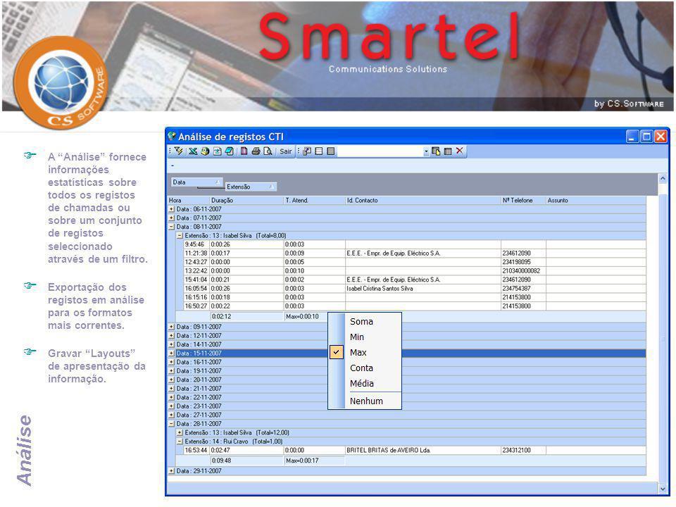 A Análise fornece informações estatísticas sobre todos os registos de chamadas ou sobre um conjunto de registos seleccionado através de um filtro.