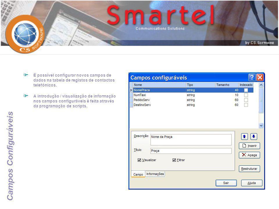 É possível configurar novos campos de dados na tabela de registos de contactos telefónicos.