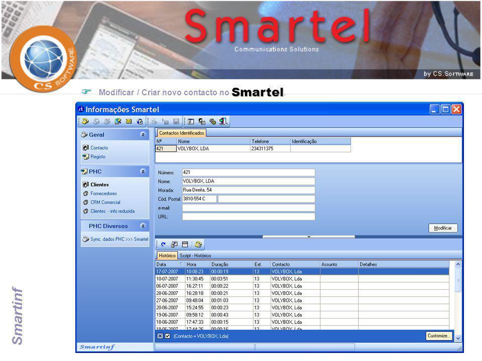 Modificar / Criar novo contacto no Smartel.