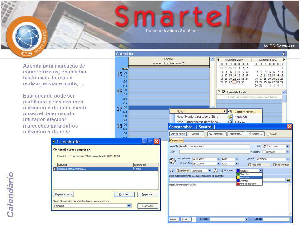 Agenda para marcação de compromissos, chamadas telefónicas, tarefas a realizar, enviar e-mail's, ...