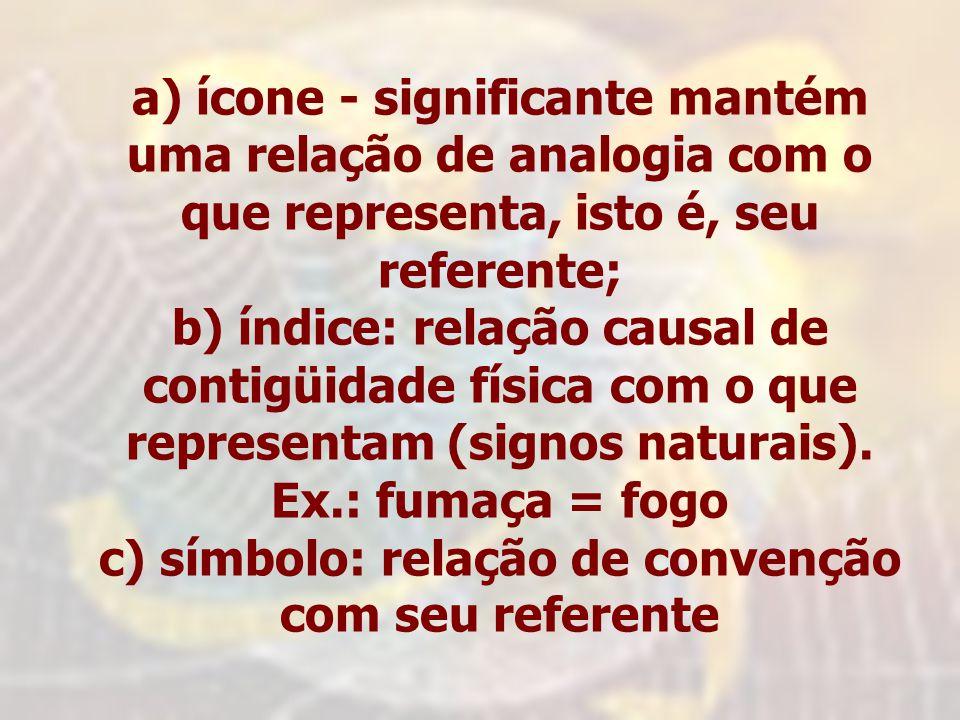 c) símbolo: relação de convenção com seu referente