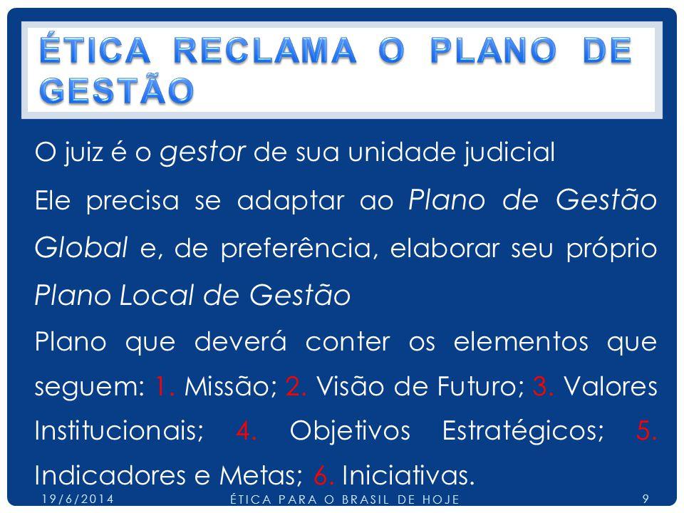 ÉTICA RECLAMA O PLANO DE GESTÃO