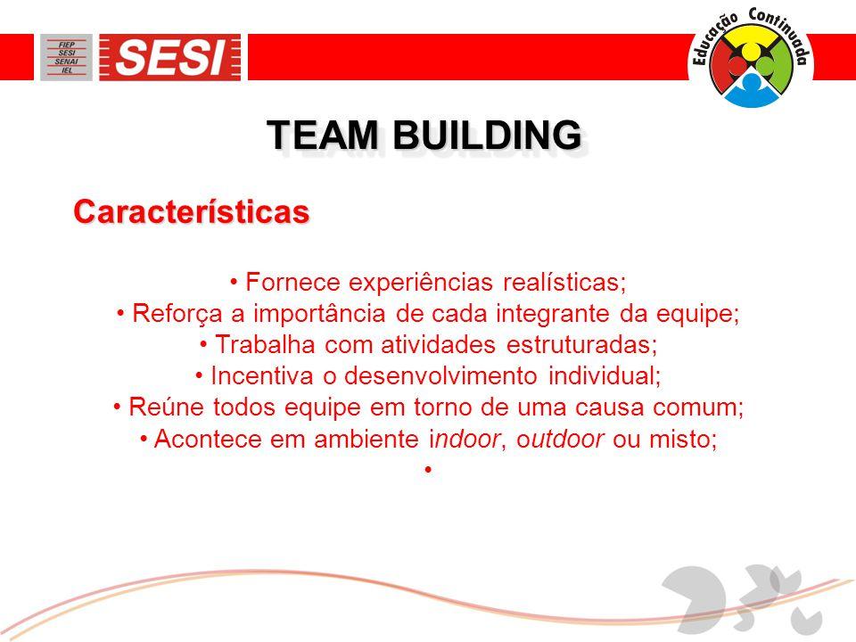TEAM BUILDING Características Fornece experiências realísticas;