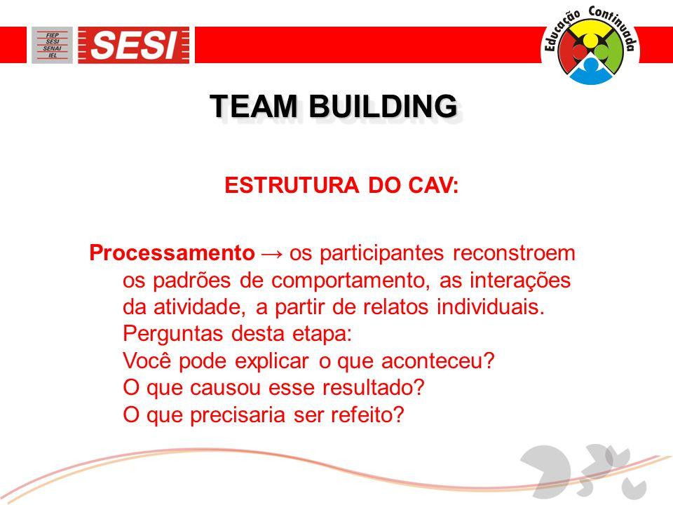 TEAM BUILDING ESTRUTURA DO CAV: