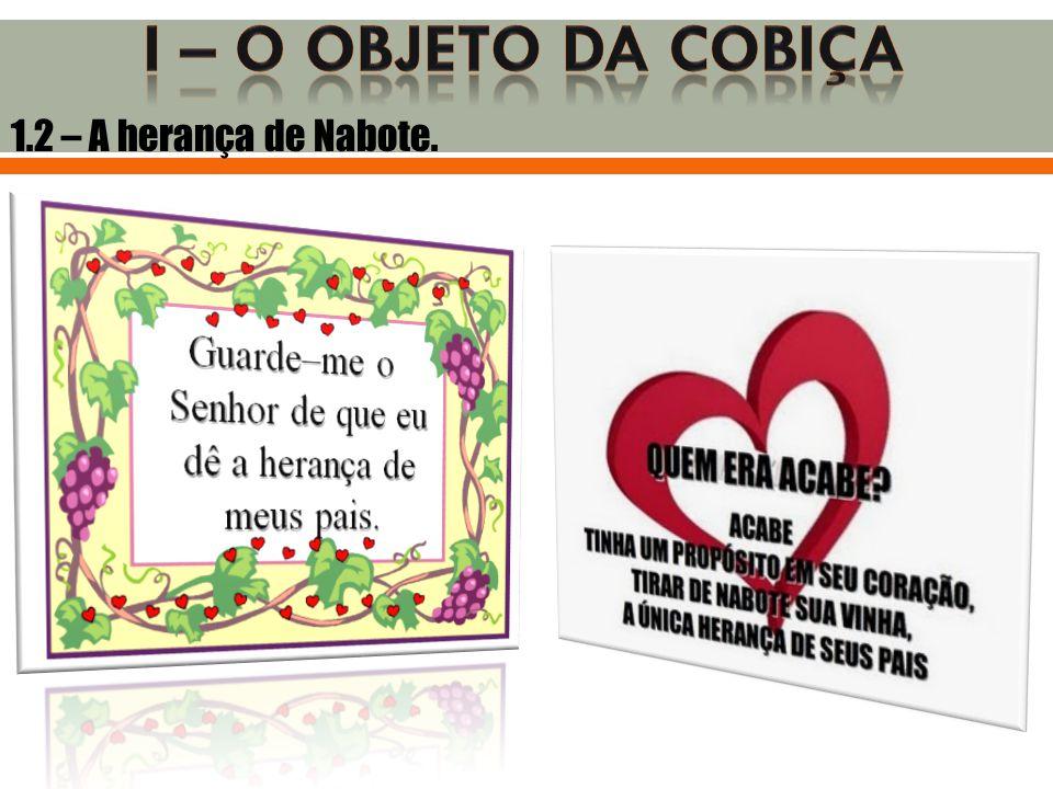 I – O OBJETO DA COBIÇA 1.2 – A herança de Nabote.