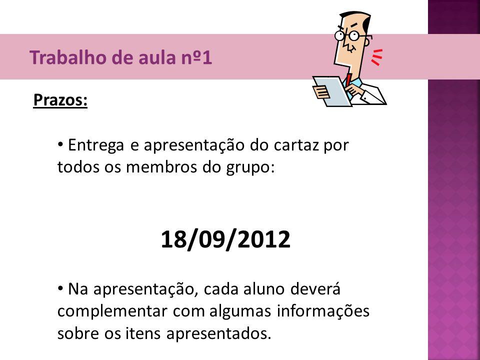 18/09/2012 Trabalho de aula nº1 Prazos: