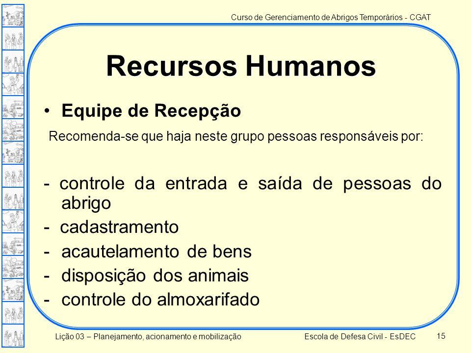 Recursos Humanos Equipe de Recepção