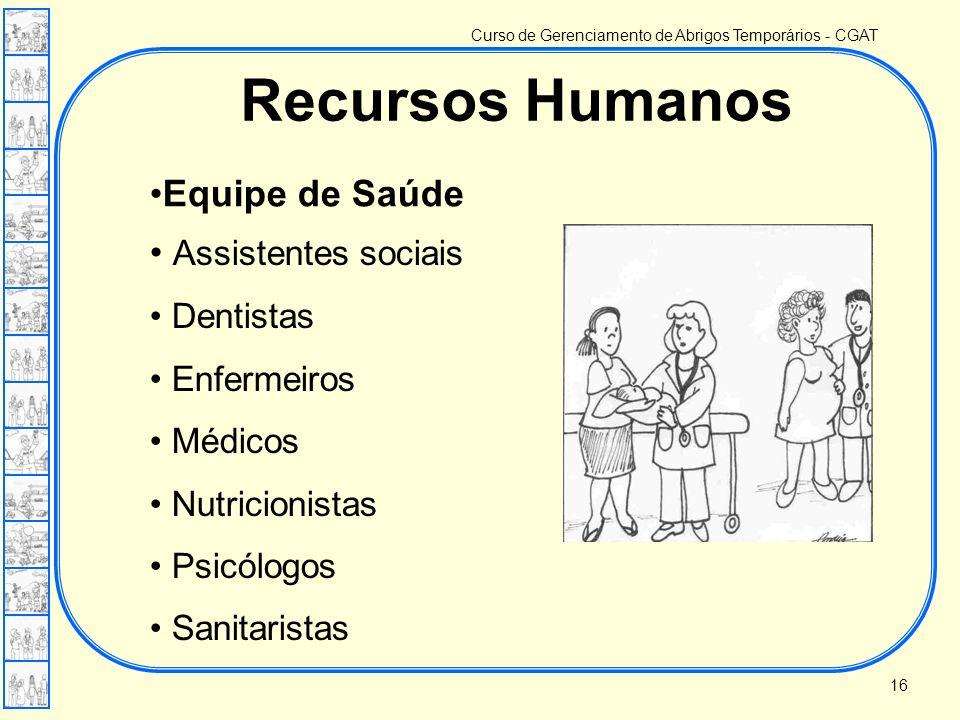 Recursos Humanos Equipe de Saúde Assistentes sociais Dentistas