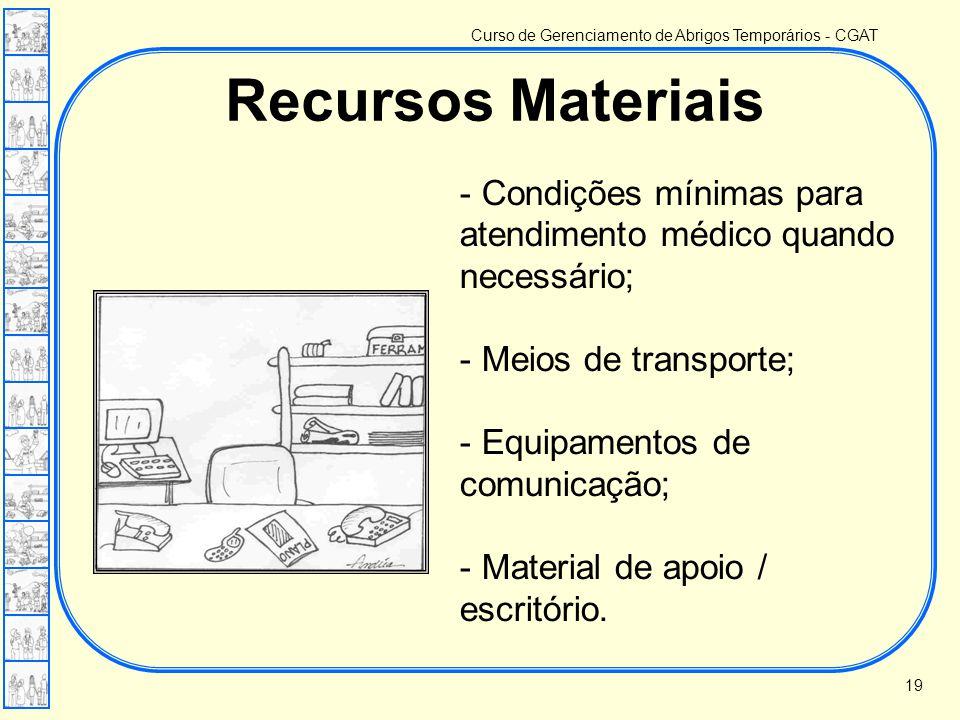 Recursos Materiais Condições mínimas para atendimento médico quando necessário; Meios de transporte;