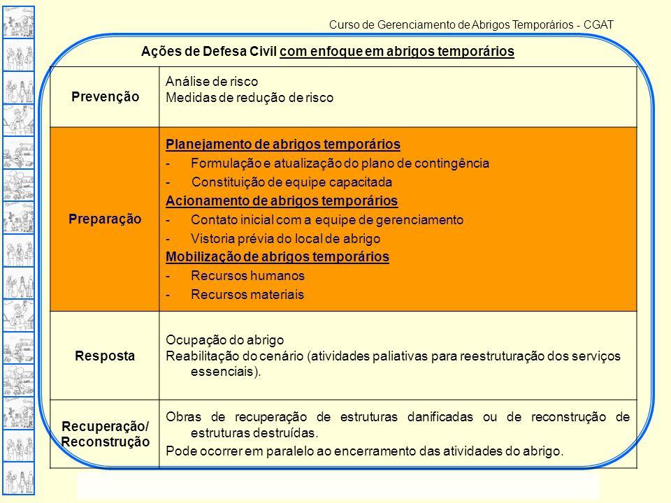 Ações de Defesa Civil com enfoque em abrigos temporários