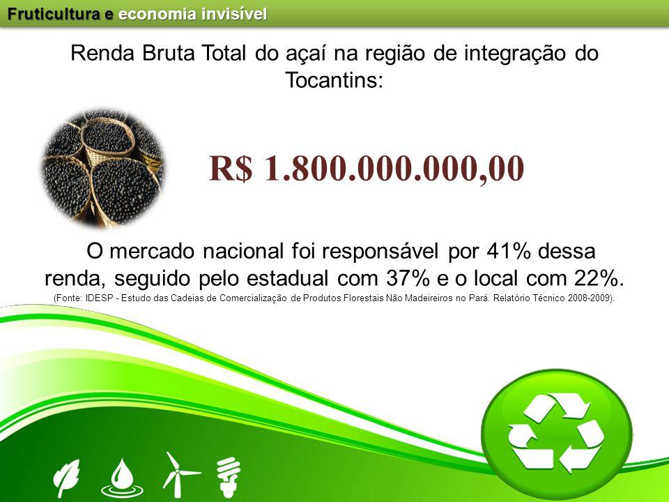 Renda Bruta Total do açaí na região de integração do Tocantins: