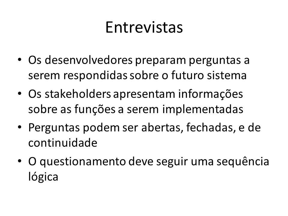 Entrevistas Os desenvolvedores preparam perguntas a serem respondidas sobre o futuro sistema.