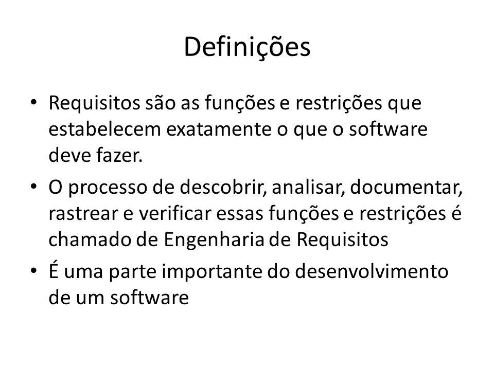 Definições Requisitos são as funções e restrições que estabelecem exatamente o que o software deve fazer.