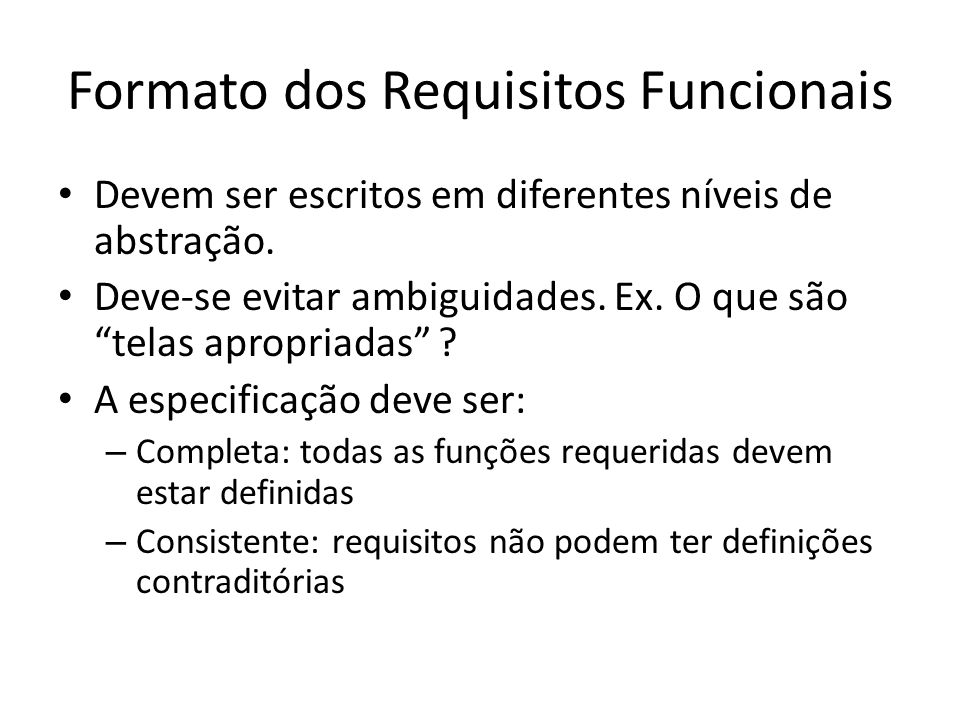 Formato dos Requisitos Funcionais