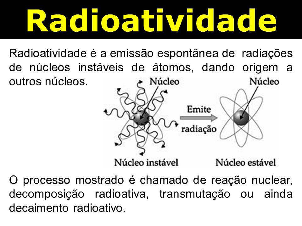 Radioatividade Radioatividade é a emissão espontânea de radiações de núcleos instáveis de átomos, dando origem a outros núcleos.