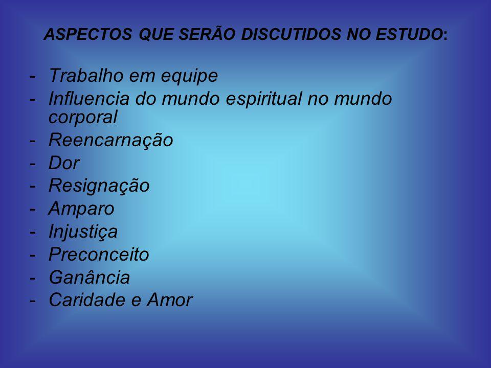 ASPECTOS QUE SERÃO DISCUTIDOS NO ESTUDO: