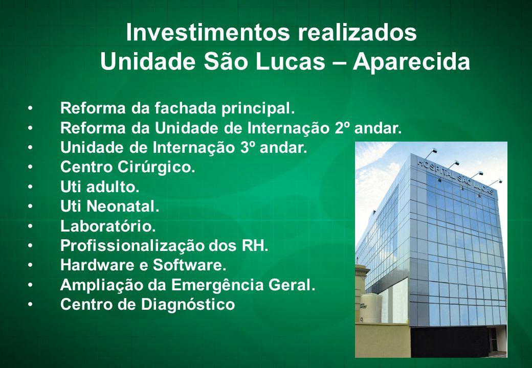 Investimentos realizados Unidade São Lucas – Aparecida