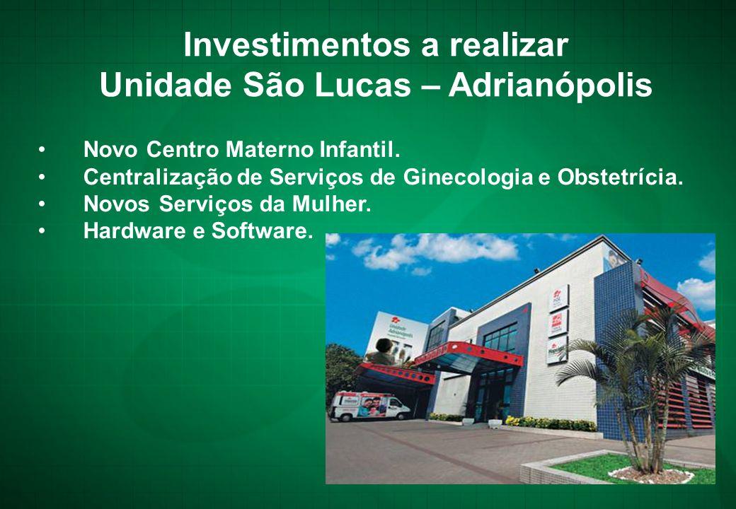 Investimentos a realizar Unidade São Lucas – Adrianópolis