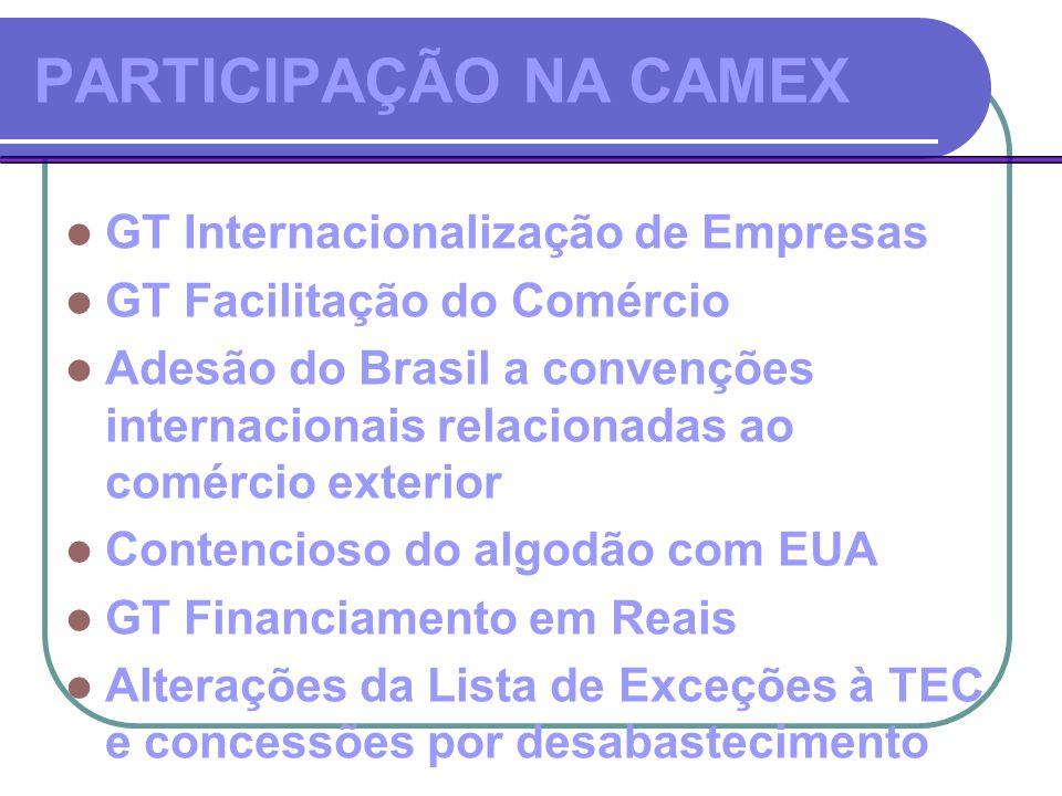 PARTICIPAÇÃO NA CAMEX GT Internacionalização de Empresas