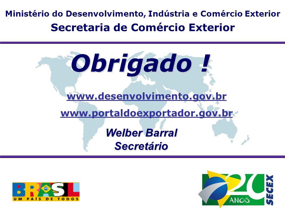Obrigado ! Welber Barral Secretário Secretaria de Comércio Exterior