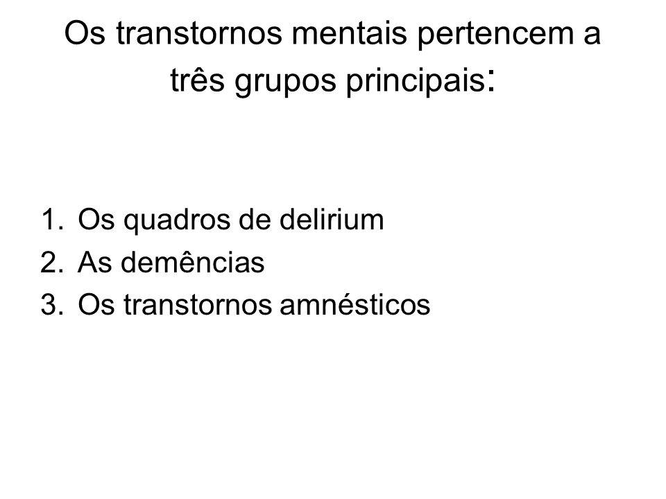 Os transtornos mentais pertencem a três grupos principais: